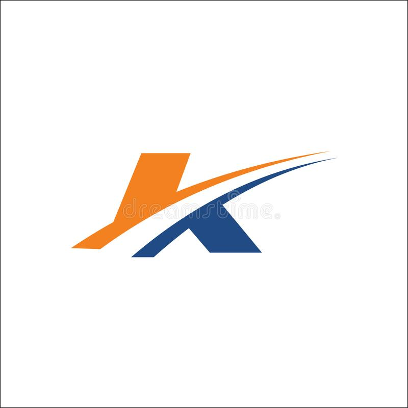 K-loppet märker med sina initialer swoosh för logovektormall stock illustrationer