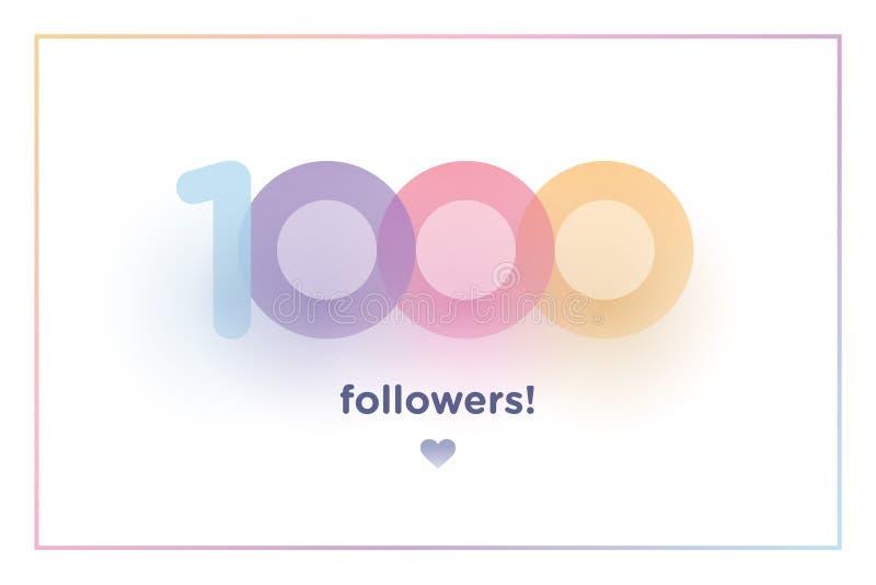1k lub 1000, zwolennicy dziękują was kolorowa tło liczba z miękkim cieniem Ilustracja dla Ogólnospołecznych sieć przyjaciół, zwol royalty ilustracja