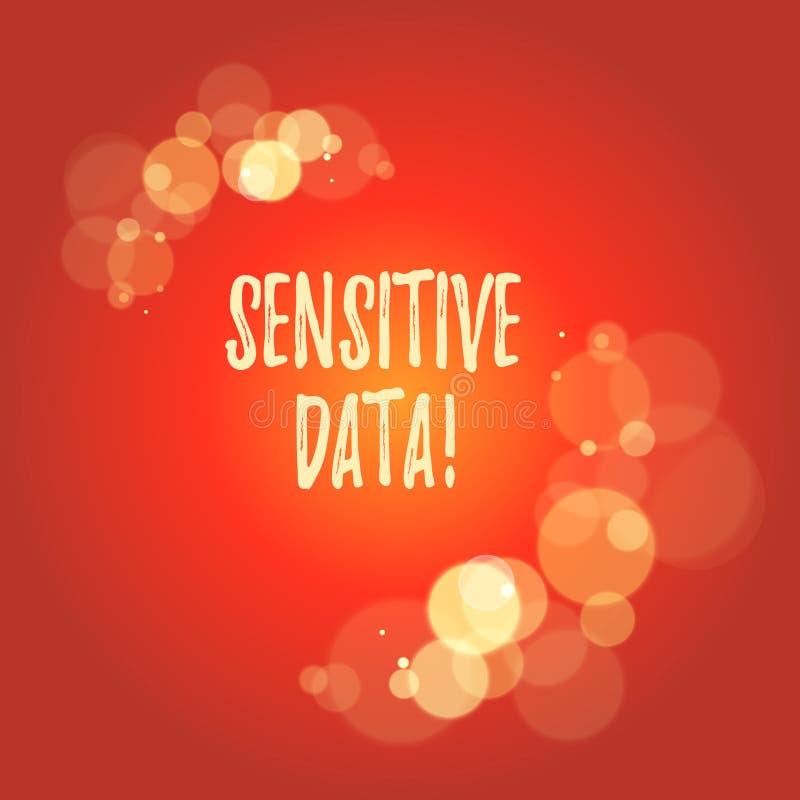 K?nsliga data f?r ordhandstiltext Aff?rsid? f?r information som skyddas mot obefogat avsl?jande royaltyfri illustrationer