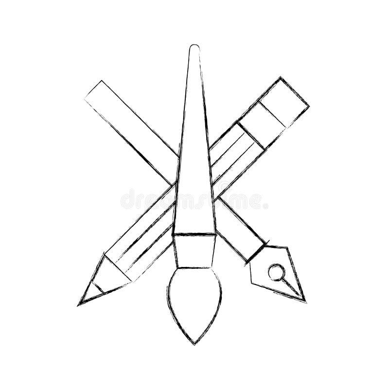 K?nstlerische Werkzeuge des Kreativit?tsentwurfs zeichnen B?rsten- und Tintenstift an lizenzfreie abbildung