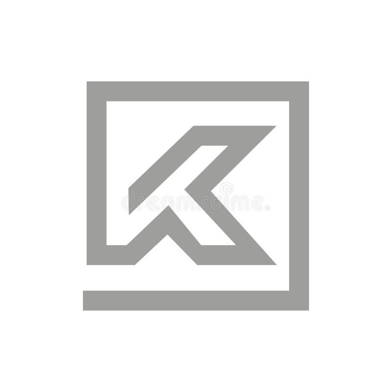 K ontwerp van het brieven het vlakke minimale embleem royalty-vrije illustratie
