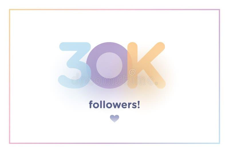 30k ou 30000, seguidores agradecem-lhe número colorido do fundo com sombra macia Ilustração para amigos sociais da rede, seguidor ilustração royalty free