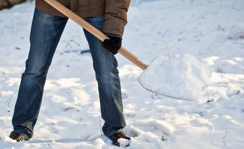 körbanaman som tar bort snow arkivbild