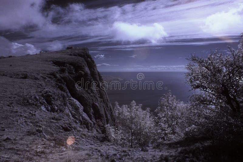 4k Paesaggio Infrarosso Movimento Delle Nuvole Sulla Baia Laspi