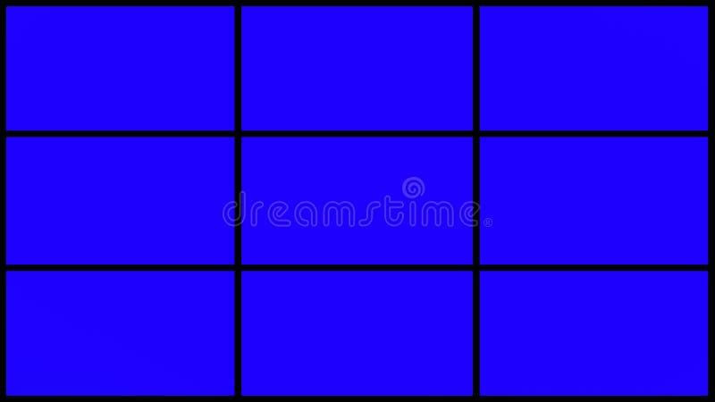 4k 9 parts de grille d'écran bleu avec les cadres noirs images libres de droits