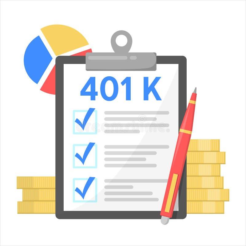 401K piano finanziario, investimento nel pensionamento pensione illustrazione di stock