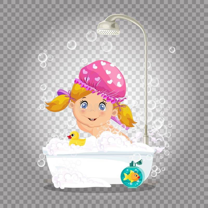 k?piel dzieci , dziewczyna bierze bąbla skąpanie z pianą ilustracja wektor