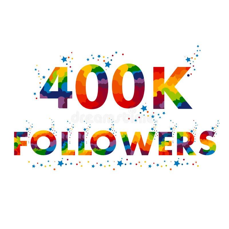 400K quatro cem mil seguidores ilustração stock