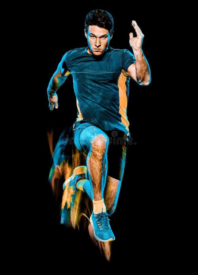 K?rande jogger f?r l?pare som joggar man isolerat ljus som m?lar svart bakgrund fotografering för bildbyråer