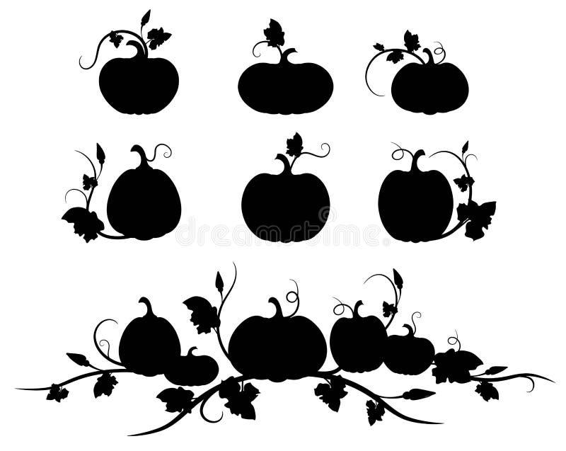 K?rbis Schwarzes Schattenbild Lokalisiertes Schattenbildgemüse, -blätter, -blume und -samen lizenzfreie abbildung