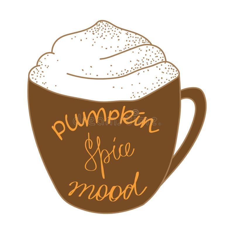 K?rbisgew?rz Latte Warme Stimmung auf Herbstsaison vektor abbildung