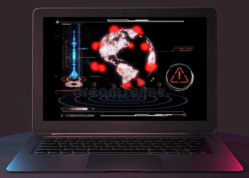 K?rn- attack, missilattack, sabotage, k?rnvapen Explosion av k?rn- laddningar Bev?pnad grupp Datoren hacker HUD royaltyfri fotografi