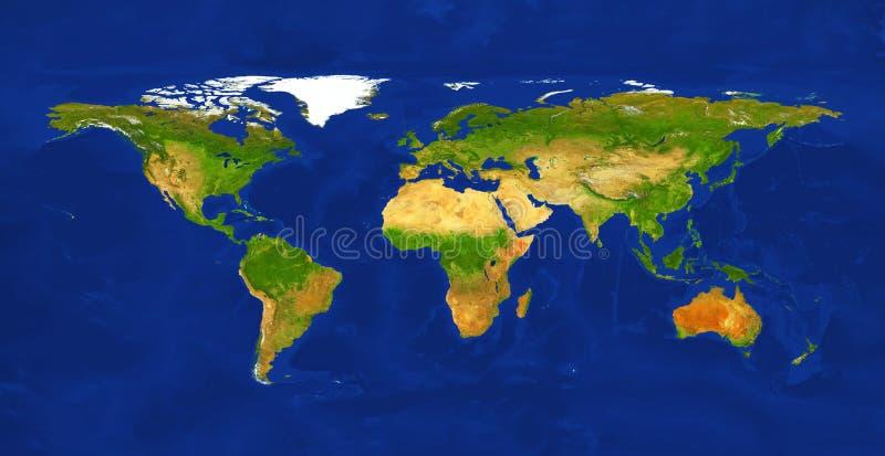 K?rperliche Weltkarteillustration der gro?en Gr??e Weltkarte, lokalisiert auf weißem Hintergrund Primäre Quelle, Elemente dieses  lizenzfreie stockfotos