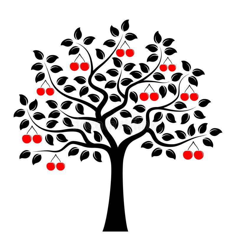 K?rsb?rsr?d Tree stock illustrationer