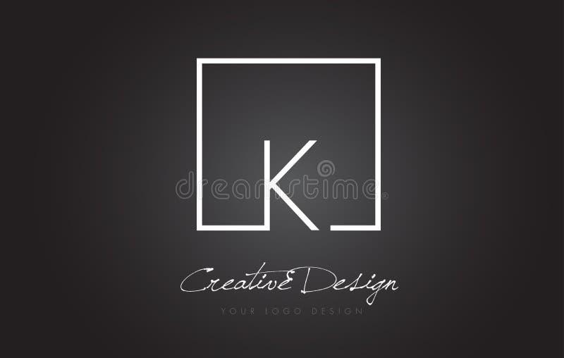 K Square Frame Letter Logo Design with Black and White Colors. stock illustration