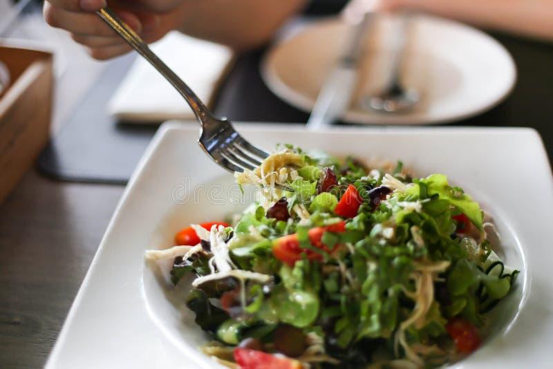 K?stlicher Salat mit Huhn, N?ssen, Ei und frischem Salat des Gem?ses mit der H?hnerbrust lizenzfreies stockbild