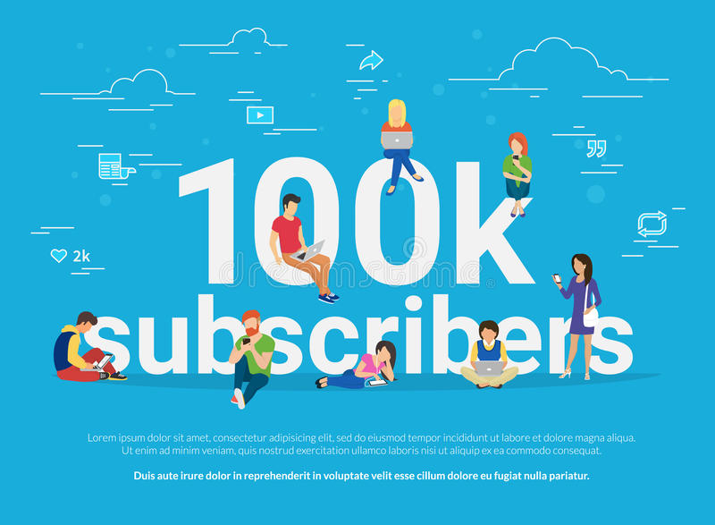 100k subscribers concept illustration of young man and woman following interesting bloggers and networking royalty free illustration