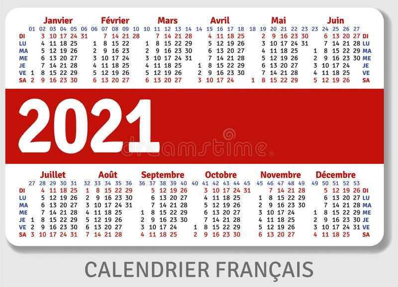 French Calendar Grid For 2021 In The Form Of A Pocket ...