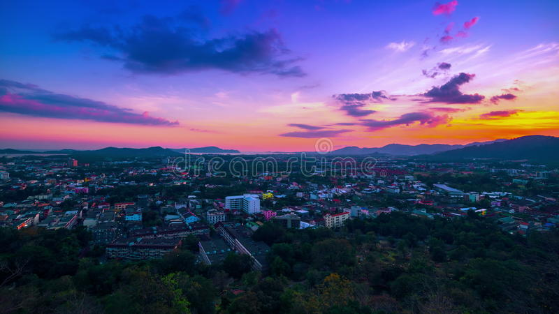 4K TimeLapse. Sunset over the Phuket Town, Thailand. 4K TimeLapse - December and January 2016, Phuket Island, Bangkok, Thailand stock footage