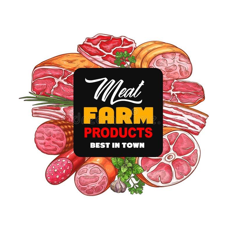 K?ttmat Korvar salami, skinka, bacon, örter royaltyfri illustrationer