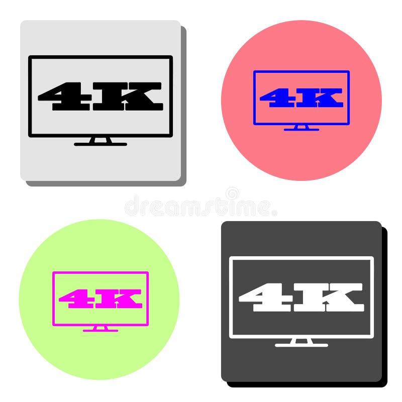 4k TV-het scherm Vlak vectorpictogram stock illustratie