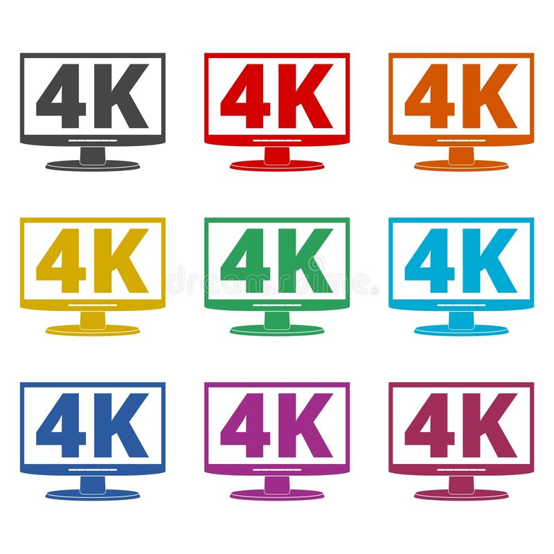 4K tv icon, Ultra HD 4K icon, color icons set. Simple vector icon royalty free illustration