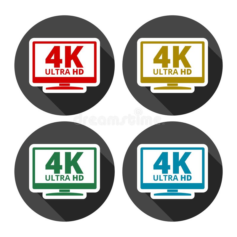 4K tv icon - Vector set with long shadow. Vector icon royalty free illustration