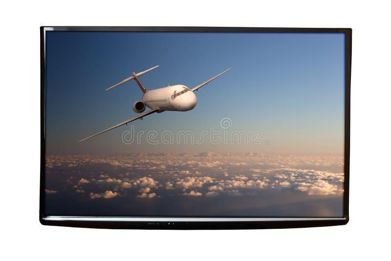 4K TV na ścianie odizolowywającej obrazy royalty free