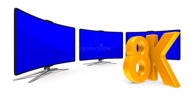 8K TV na białym tle Odosobniona 3d ilustracja ilustracji