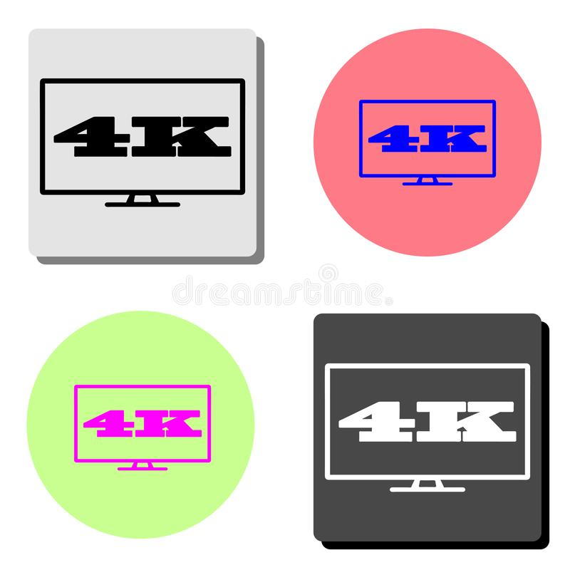 4k tv screen. flat vector icon stock illustration