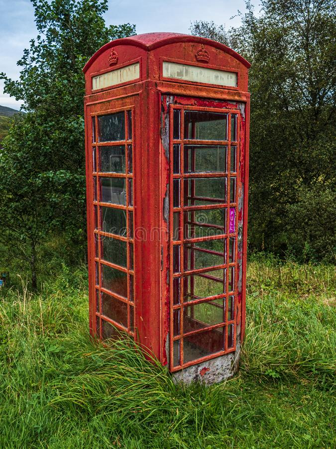 A K6 Type Red Phone Box In Remote Location In Scotland