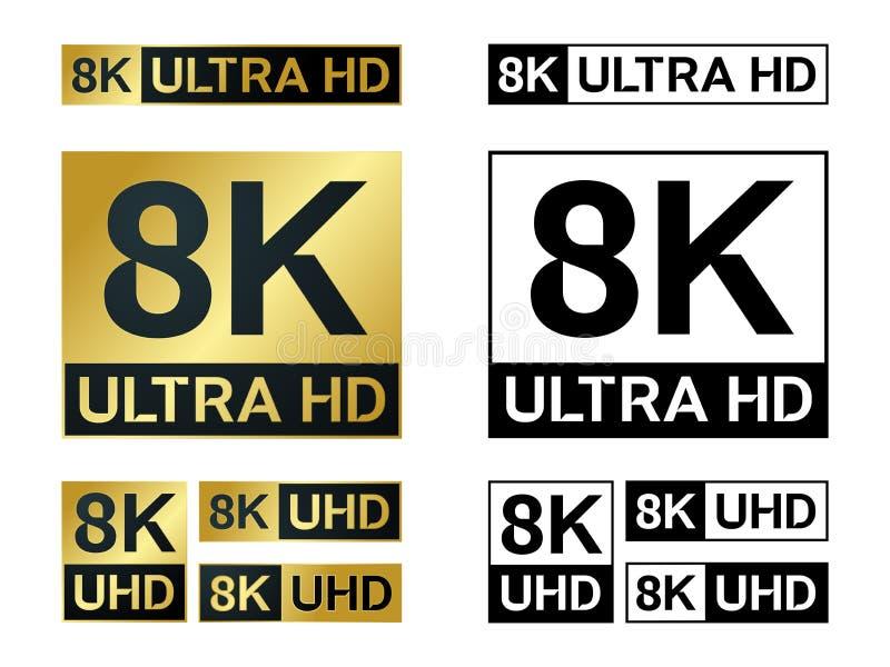 8k Ultra Hd ikona Wektoru 8KUHD TV symbol Wysoka definicja ilustracja wektor