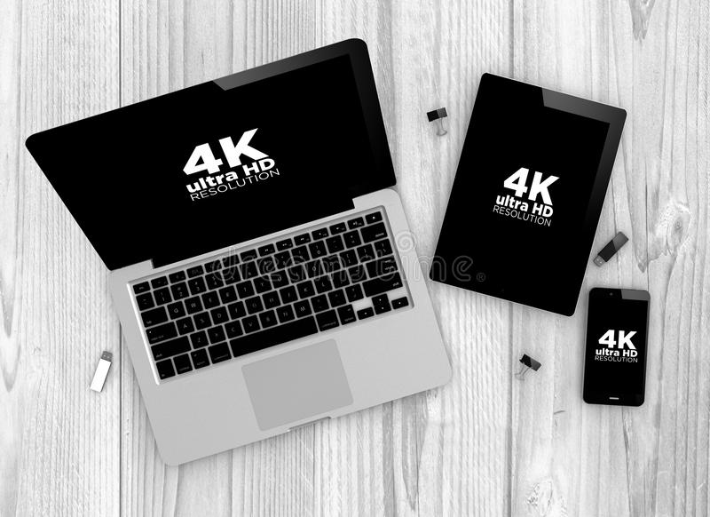 4K Ultra HD resolution screens. Technology concept: Devices witn 4k Ultra HD resolutions screens. All graphics are made up stock images