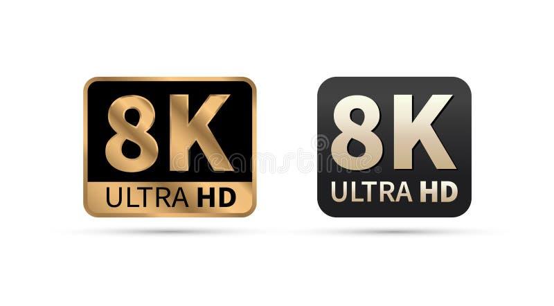 8K Ultra HD sign. 8K icon on white background. Vector illustration. royalty free illustration