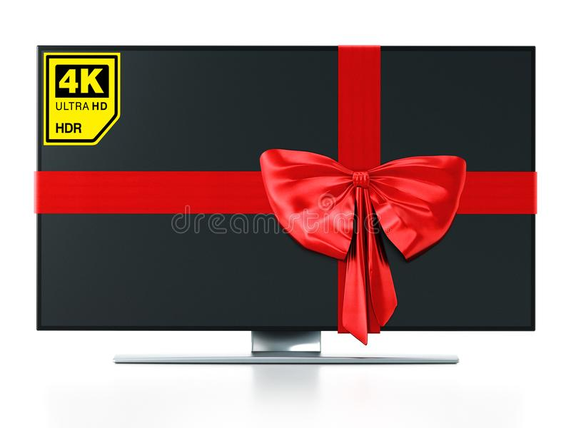 4K Ultra HD TV wrapped with red ribbon. 3D illustration royalty free illustration