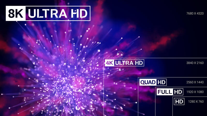 8K ultra HD, 4K UHD, patio HD, presentación completa de la resolución del vector de HD libre illustration
