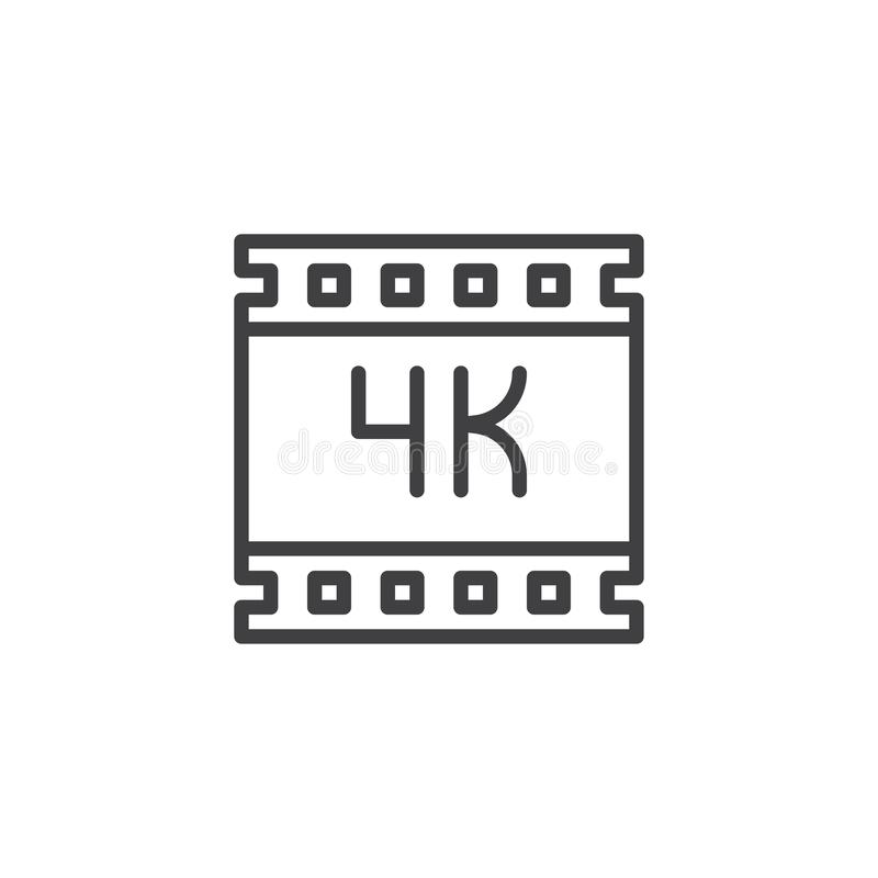 4K ultra hd video outline icon. Linear style sign for mobile concept and web design. 4K film strip simple line vector icon. Symbol, logo illustration. Pixel stock illustration