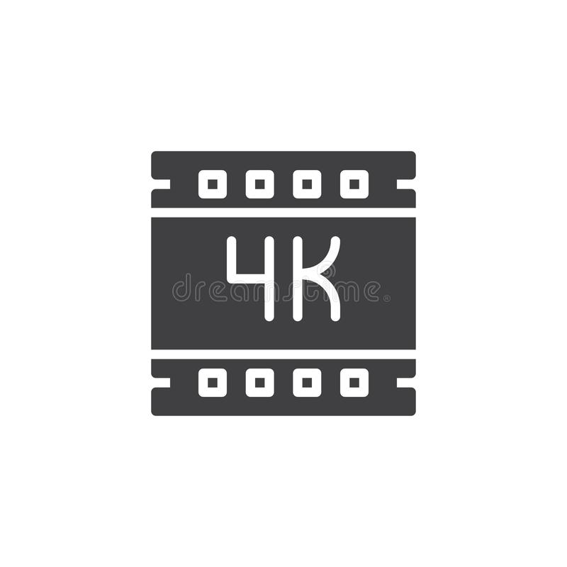 4K ultra hd video vector icon. Filled flat sign for mobile concept and web design. 4K film strip simple solid icon. Symbol, logo illustration. Pixel perfect vector illustration