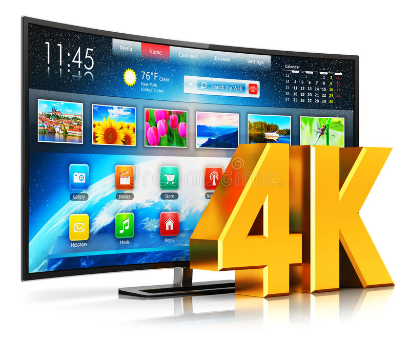 4K UltraHD弯曲的聪明的电视 库存例证