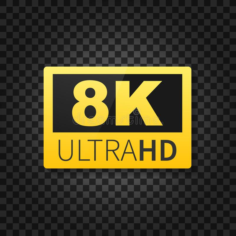 8K ultrahd-etiket Geavanceerd technisch Geleide televisievertoning Vector illustratie vector illustratie