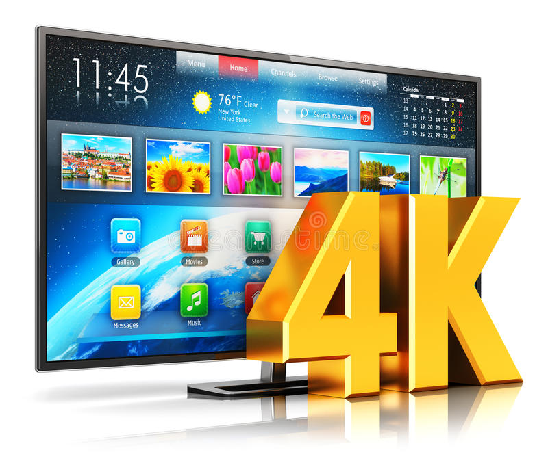 4K UltraHD smart TV. Creative abstract ultra high definition digital television screen technology concept: 3D render illustration of 4K UltraHD resolution stock illustration