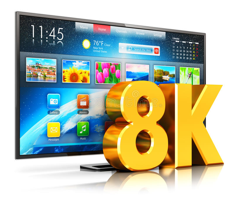 8K UltraHD smart TV. Creative abstract ultra high definition digital television screen technology concept: 3D render illustration of 8K UltraHD resolution stock illustration
