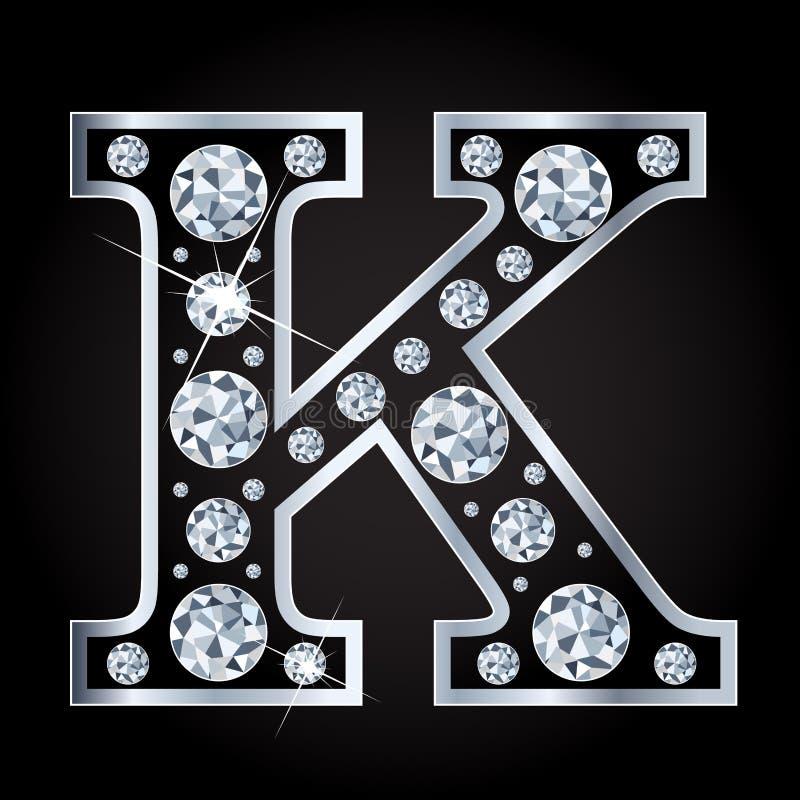 K vectordiebrief met diamanten wordt gemaakt op zwarte achtergrond worden geïsoleerd royalty-vrije illustratie