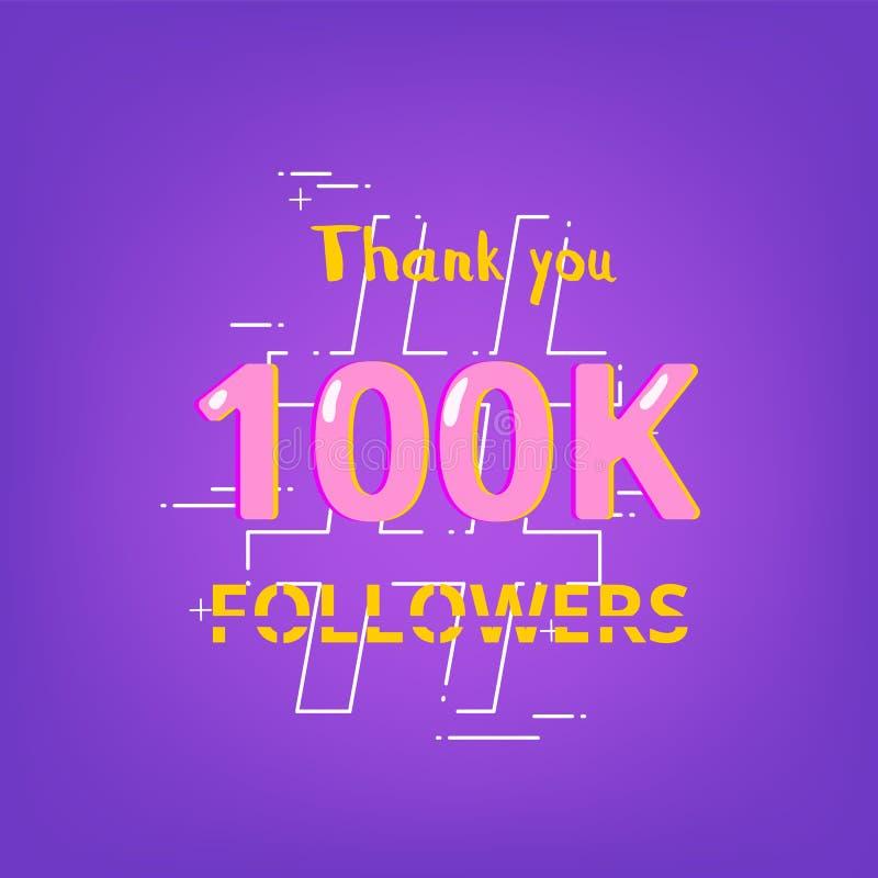 100K zwolennicy dziękują was sztandar również zwrócić corel ilustracji wektora ilustracja wektor