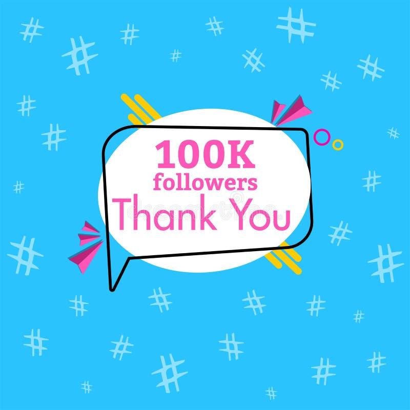100K zwolennicy dziękują was wiadomość w gawędzenia pudełku ilustracji