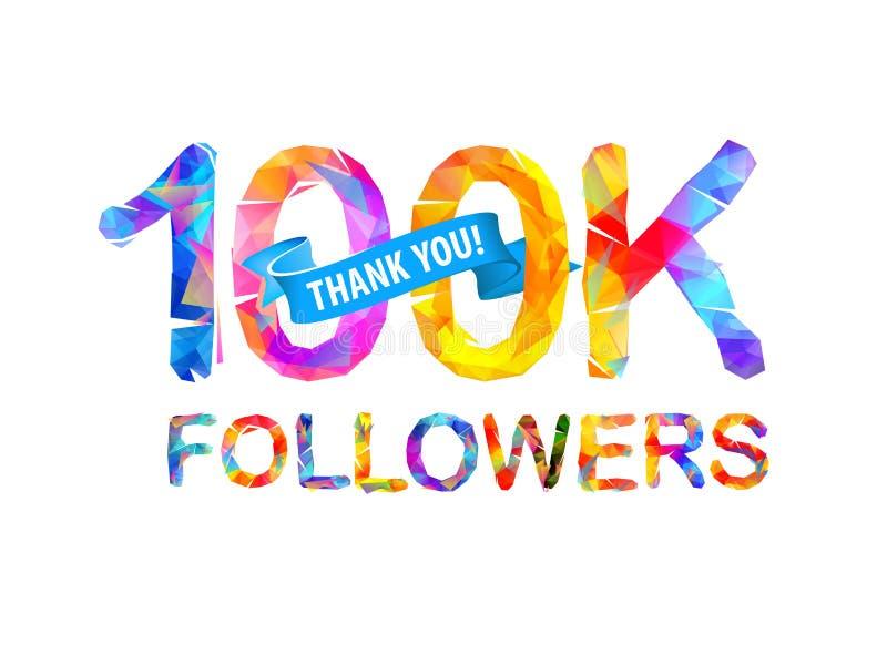 100K zwolennicy Dziękuje Ciebie! ilustracji