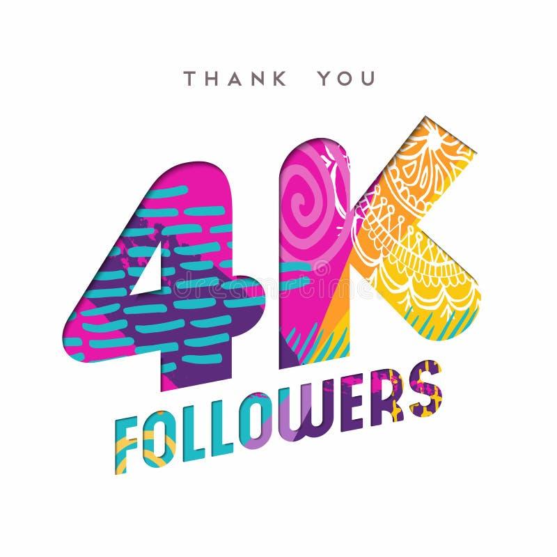 4k zwolennika ogólnospołeczna medialna liczba dziękuje ciebie szablon royalty ilustracja