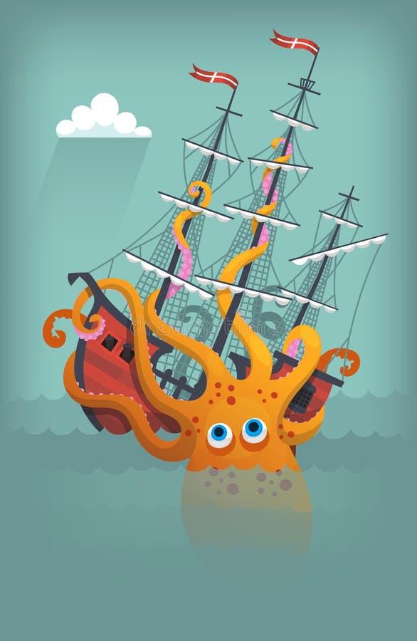 Kałamarnicy Humboldta łamanie i słabnięcie statek w oceanie zdjęcia royalty free