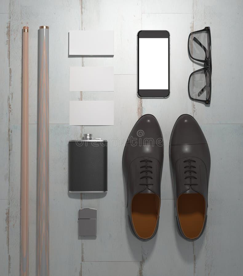 Każdy dzień niesie mężczyzna rzeczy kolekcję: szkła, wskazówka, buty zdjęcia royalty free