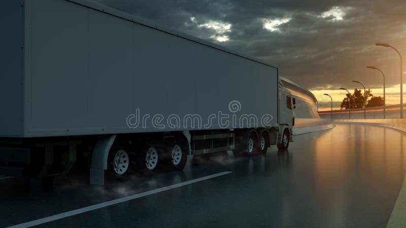 ?ka lastbil att rusa p? huvudv?gen, sidosikt Trans. s?ndningsbranschbegrepp illustration 3d royaltyfri illustrationer